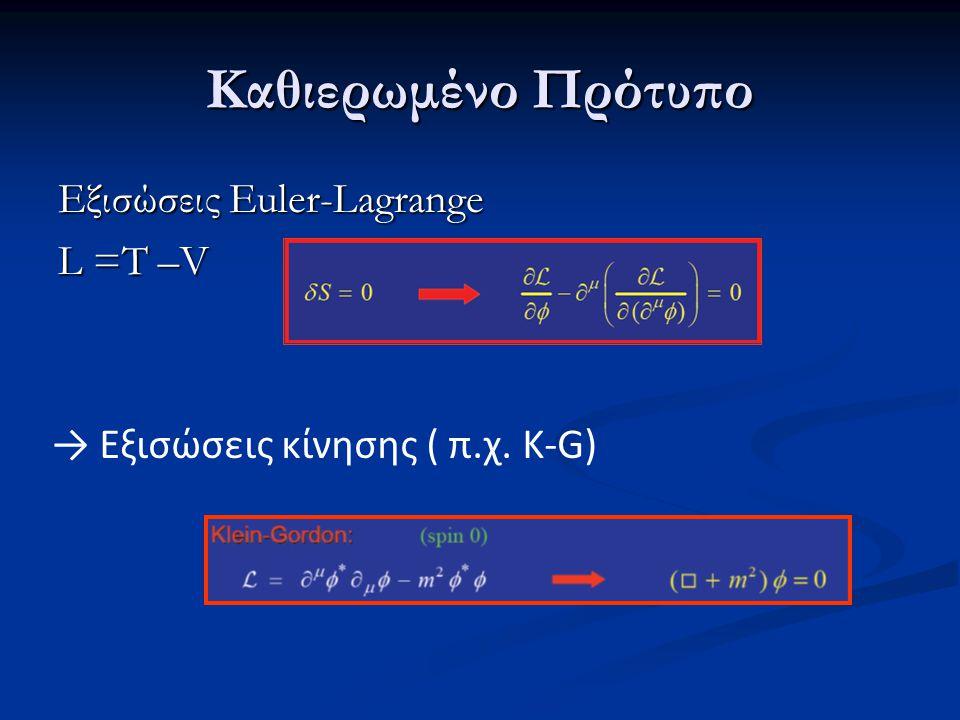 Εξισώσεις Euler-Lagrange L =T –V → Εξισώσεις κίνησης ( π.χ. K-G)