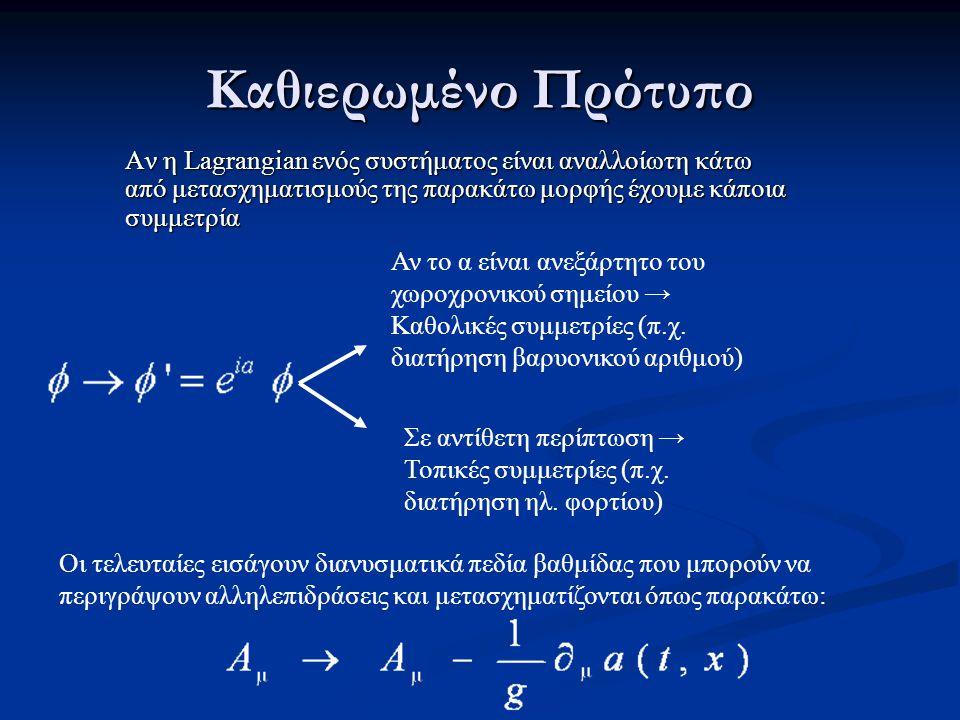 Καθιερωμένο Πρότυπο Αν η Lagrangian ενός συστήματος είναι αναλλοίωτη κάτω από μετασχηματισμούς της παρακάτω μορφής έχουμε κάποια συμμετρία Οι τελευταίες εισάγουν διανυσματικά πεδία βαθμίδας που μπορούν να περιγράψουν αλληλεπιδράσεις και μετασχηματίζονται όπως παρακάτω: Αν το α είναι ανεξάρτητο του χωροχρονικού σημείου → Καθολικές συμμετρίες (π.χ.