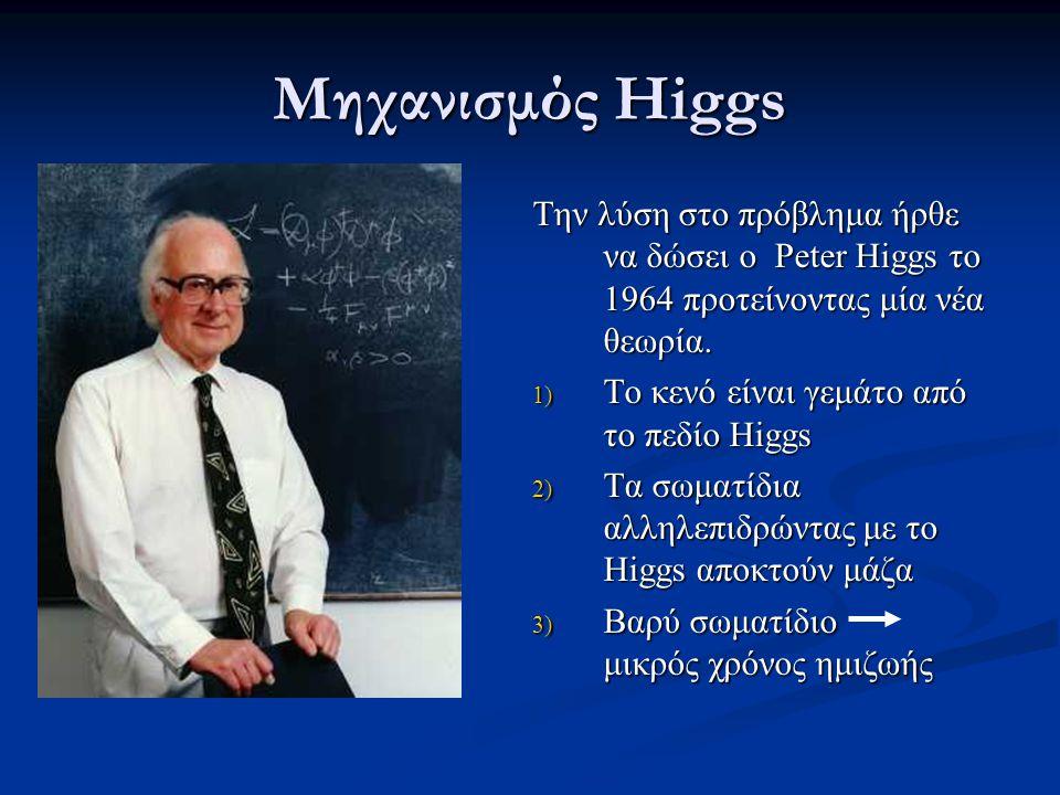 Μηχανισμός Higgs Tην λύση στο πρόβλημα ήρθε να δώσει ο Peter Higgs το 1964 προτείνοντας μία νέα θεωρία.