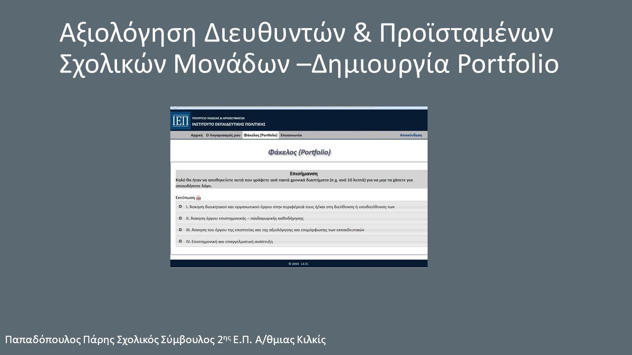 Αξιολόγηση Διευθυντών & Προϊσταμένων Σχολικών Μονάδων –Δημιουργία Portfolio Παπαδόπουλος Πάρης Σχολικός Σύμβουλος 2 ης Ε.Π.