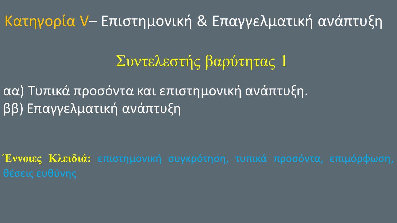 Κατηγορία V– Επιστημονική & Επαγγελματική ανάπτυξη Συντελεστής βαρύτητας 1 αα) Τυπικά προσόντα και επιστημονική ανάπτυξη.