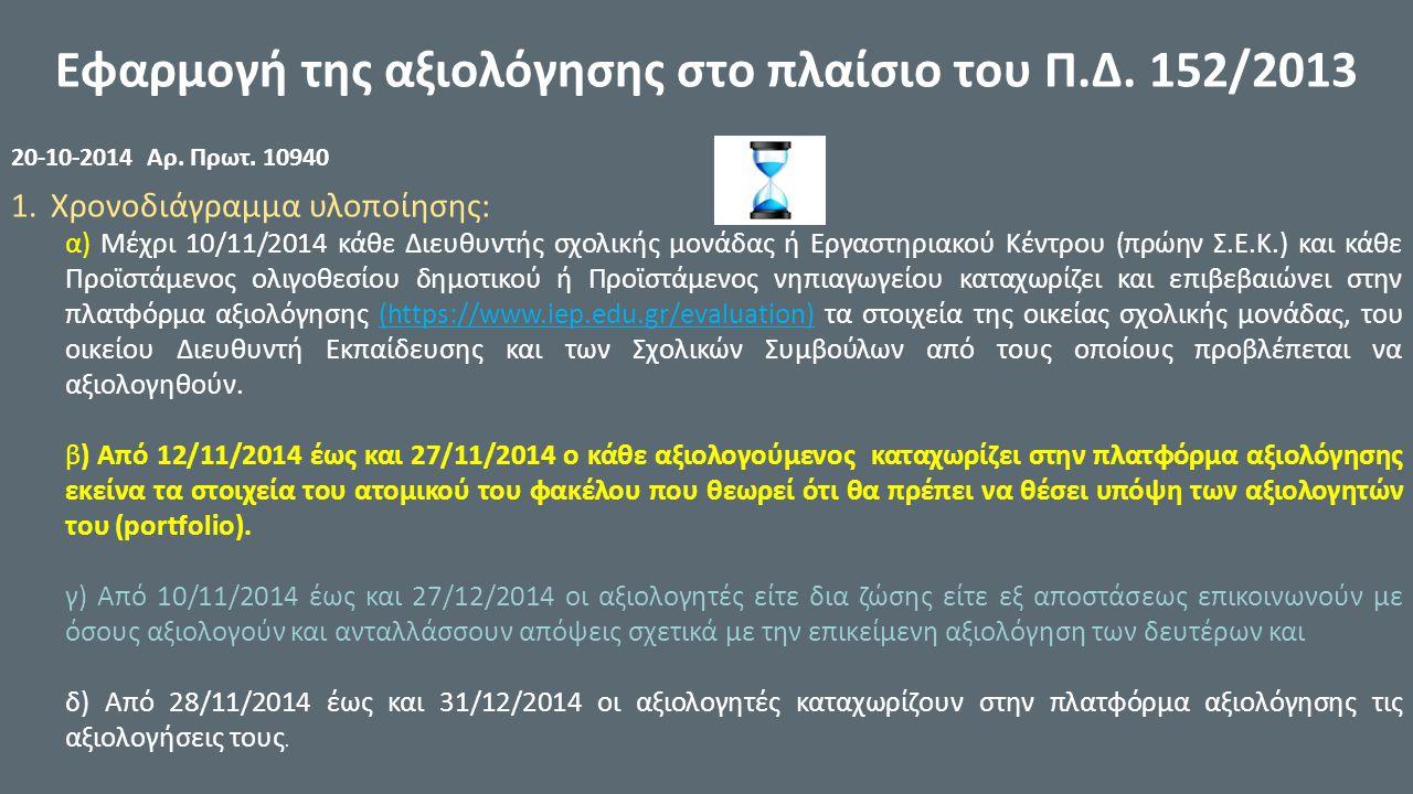 Εφαρμογή της αξιολόγησης στο πλαίσιο του Π.Δ. 152/2013 20-10-2014 Αρ.