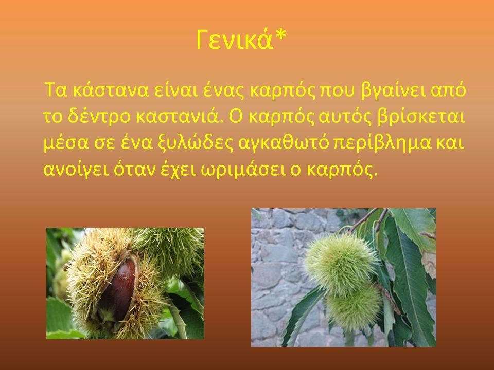 Γενικά* Τα κάστανα είναι ένας καρπός που βγαίνει από το δέντρο καστανιά.