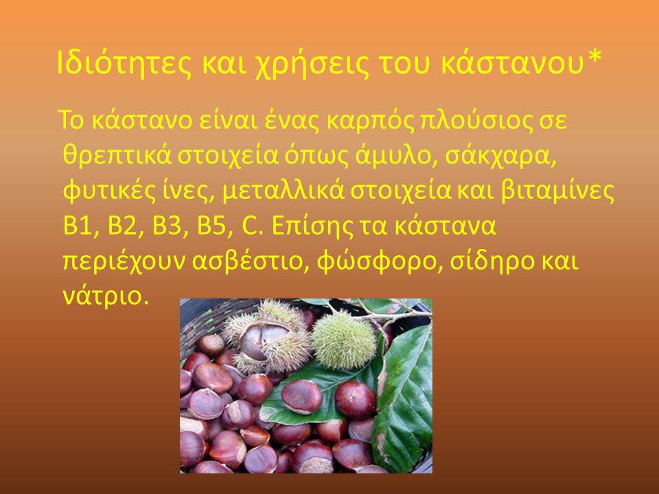 Ιδιότητες και χρήσεις του κάστανου* Το κάστανο είναι ένας καρπός πλούσιος σε θρεπτικά στοιχεία όπως άμυλο, σάκχαρα, φυτικές ίνες, μεταλλικά στοιχεία και βιταμίνες Β1, Β2, Β3, Β5, C.