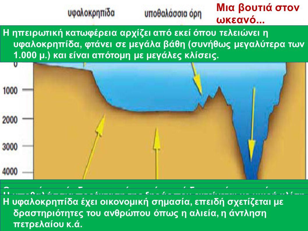 Ο βυθός δεν είναι ομοιόμορφος. Έχει βουνά, λόφους, πεδιάδες, λεκάνες και βαθιά φαράγγια, όπως περίπου και η στεριά. Οι μορφές αυτές δημιουργούνται είτ