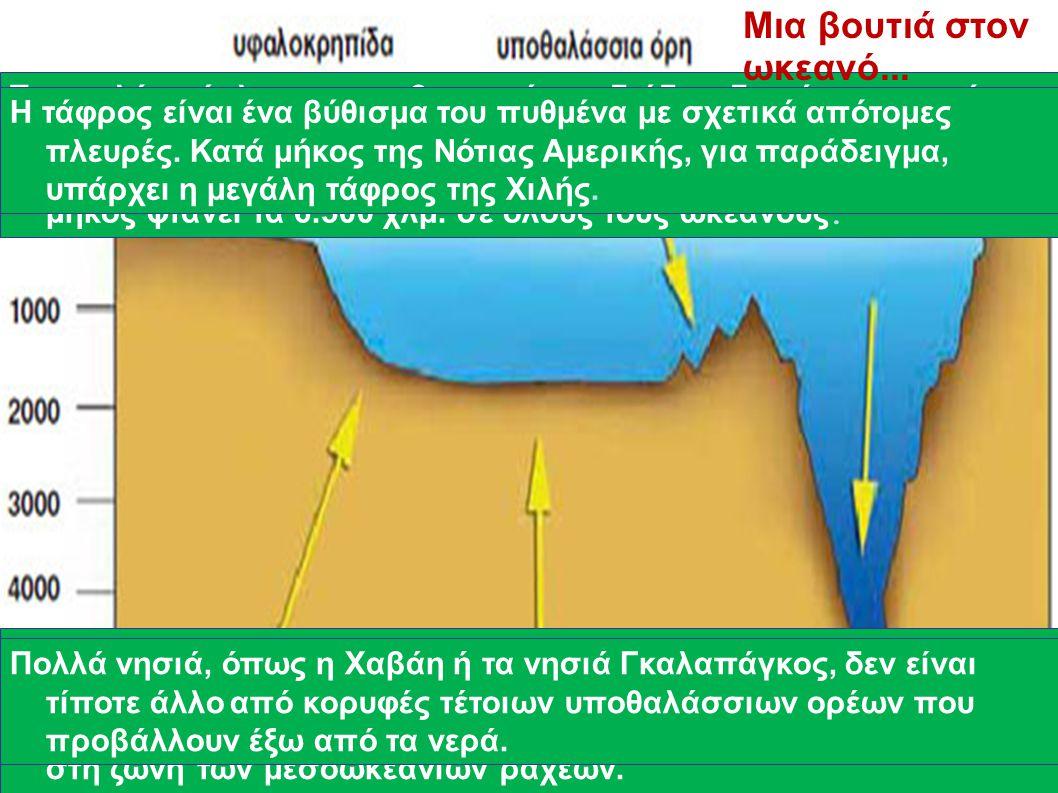 Μετά την ηπειρωτική κατωφέρεια βρίσκεται ο επίπεδος ωκεάνιος πυθμένας, η αβυσσική πεδιάδα, σε βάθη μεγαλύτερα των 4.000 μ. Το ομαλό ανάγλυφο των αβυσσ