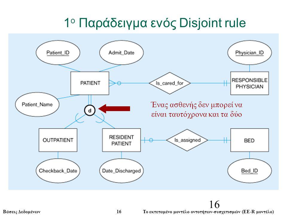 Βάσεις Δεδομένων 16 Το εκτεταμένο μοντέλο οντοτήτων-συσχετισμών (ΕE-R μοντέλο) 16 1 ο Παράδειγμα ενός Disjoint rule Ένας ασθενής δεν μπορεί να είναι ταυτόχρονα και τα δύο