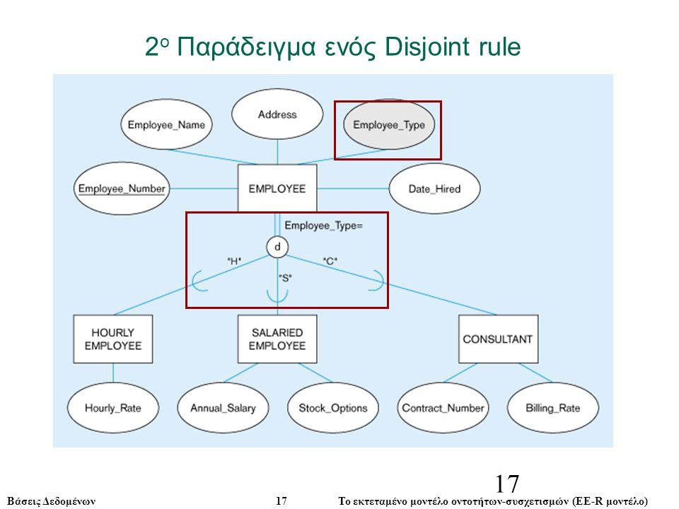 Βάσεις Δεδομένων 17 Το εκτεταμένο μοντέλο οντοτήτων-συσχετισμών (ΕE-R μοντέλο) 17 2 ο Παράδειγμα ενός Disjoint rule