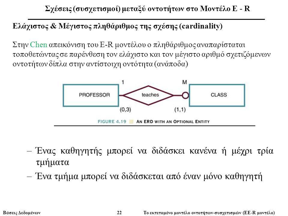 Βάσεις Δεδομένων 22 Το εκτεταμένο μοντέλο οντοτήτων-συσχετισμών (ΕE-R μοντέλο) Ελάχιστος & Μέγιστος πληθάριθμος της σχέσης (cardinality) Στην Chen απεικόνιση του E-R μοντέλου ο πληθάριθμος αναπαρίσταται τοποθετώντας σε παρένθεση τον ελάχιστο και τον μέγιστο αριθμό σχετιζόμενων οντοτήτων δίπλα στην αντίστοιχη οντότητα (ανάποδα) –Ένας καθηγητής μπορεί να διδάσκει κανένα ή μέχρι τρία τμήματα –Ένα τμήμα μπορεί να διδάσκεται από έναν μόνο καθηγητή Σχέσεις (συσχετισμοί) μεταξύ οντοτήτων στο Μοντέλο E - R ___________________________________________________________