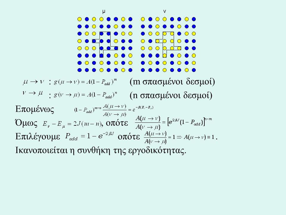 : (m σπασμένοι δεσμοί) : (n σπασμένοι δεσμοί) Επομένως Όμως, οπότε Επιλέγουμε οπότε. Ικανοποιείται η συνθήκη της εργοδικότητας. μ ν