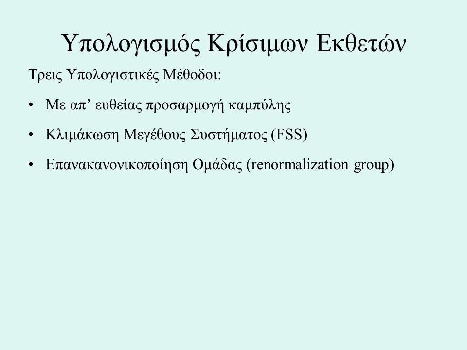Υπολογισμός Κρίσιμων Εκθετών Τρεις Υπολογιστικές Μέθοδοι: Με απ' ευθείας προσαρμογή καμπύλης Κλιμάκωση Μεγέθους Συστήματος (FSS) Επανακανονικοποίηση Ο