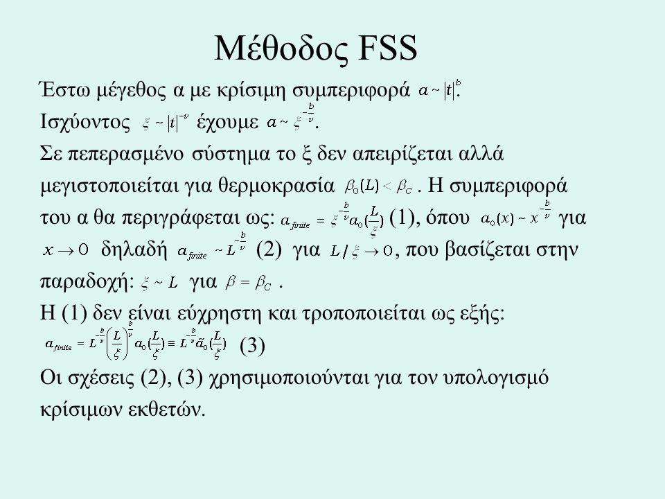 Μέθοδος FSS Έστω μέγεθος α με κρίσιμη συμπεριφορά. Ισχύοντος έχουμε. Σε πεπερασμένο σύστημα το ξ δεν απειρίζεται αλλά μεγιστοποιείται για θερμοκρασία.