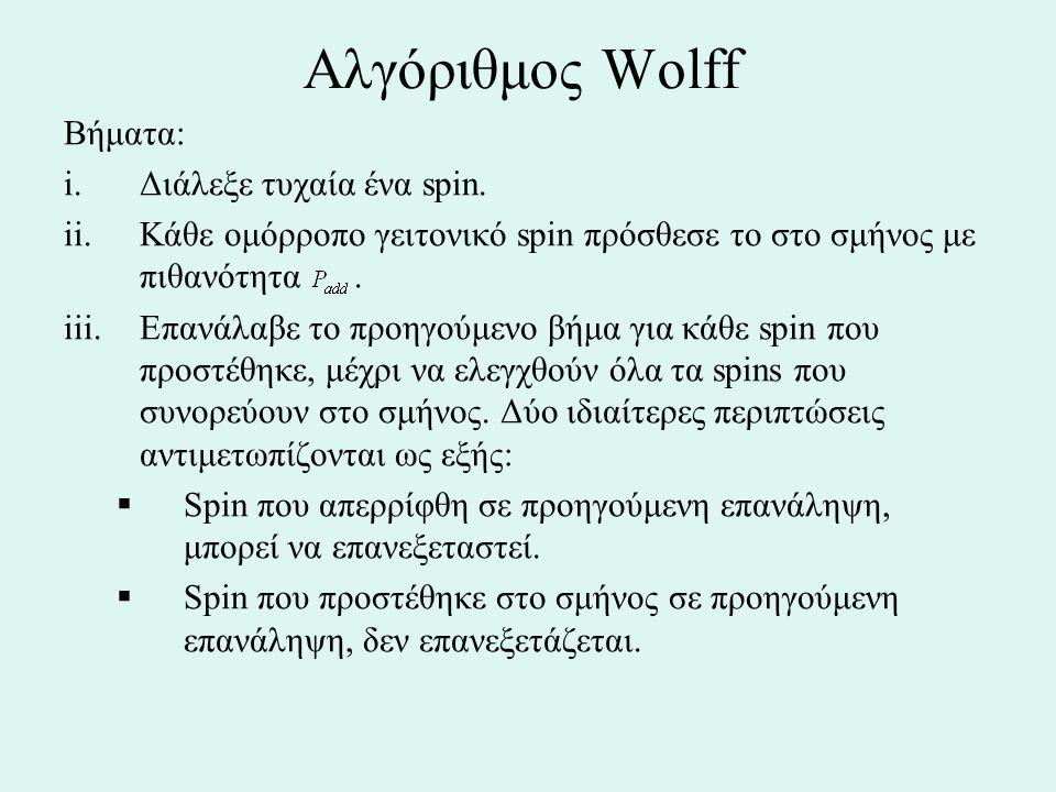 Αλγόριθμος Wolff Βήματα: i.Διάλεξε τυχαία ένα spin. ii.Κάθε ομόρροπο γειτονικό spin πρόσθεσε το στο σμήνος με πιθανότητα. iii.Επανάλαβε το προηγούμενο