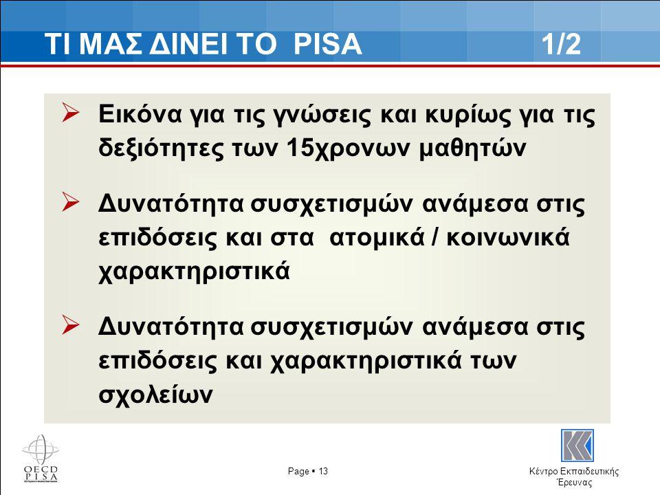 Κέντρο Εκπαιδευτικής Έρευνας ΤΙ ΜΑΣ ΔΙΝΕΙ ΤΟ PISA 1/2  Εικόνα για τις γνώσεις και κυρίως για τις δεξιότητες των 15χρονων μαθητών  Δυνατότητα συσχετισμών ανάμεσα στις επιδόσεις και στα ατομικά / κοινωνικά χαρακτηριστικά  Δυνατότητα συσχετισμών ανάμεσα στις επιδόσεις και χαρακτηριστικά των σχολείων Page  13