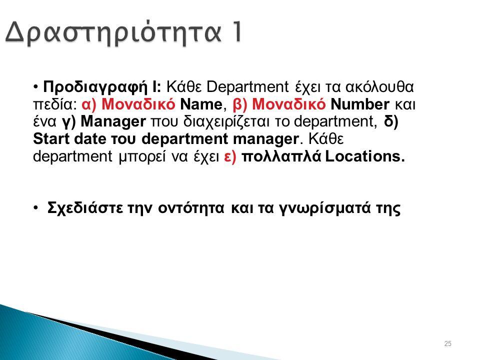 25 Δραστηριότητα 1 Προδιαγραφή Ι: Κάθε Department έχει τα ακόλουθα πεδία: α) Μοναδικό Name, β) Μοναδικό Number και ένα γ) Manager που διαχειρίζεται το