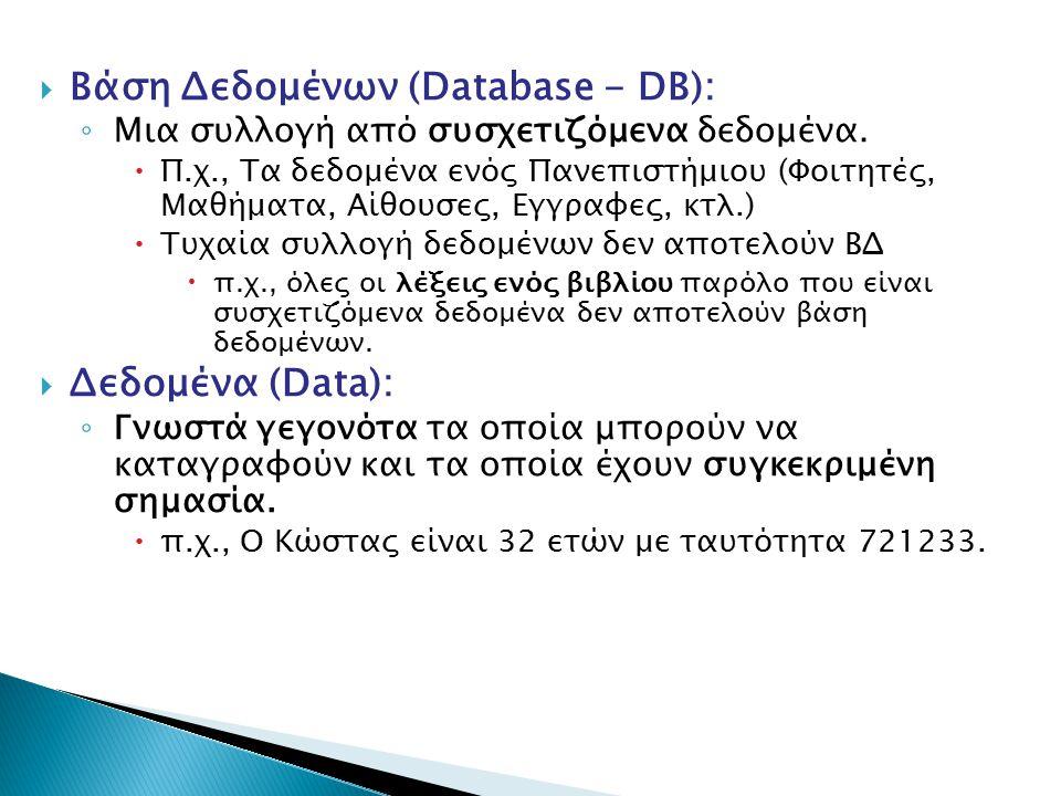  Βάση Δεδομένων (Database - DB): ◦ Μια συλλογή από συσχετιζόμενα δεδομένα.  Π.χ., Τα δεδομένα ενός Πανεπιστήμιου (Φοιτητές, Μαθήματα, Αίθουσες, Εγγρ