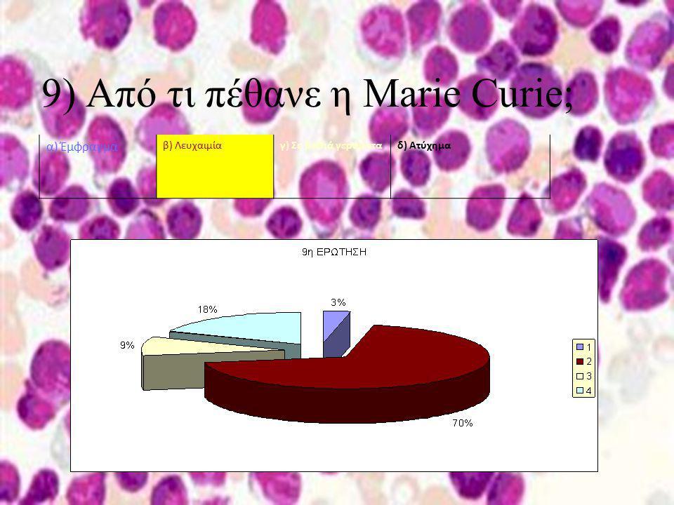 9) Από τι πέθανε η Marie Curie; α) Έμφραγμα β) Λευχαιμίαγ) Σε βαθιά γεράματαδ) Ατύχημα