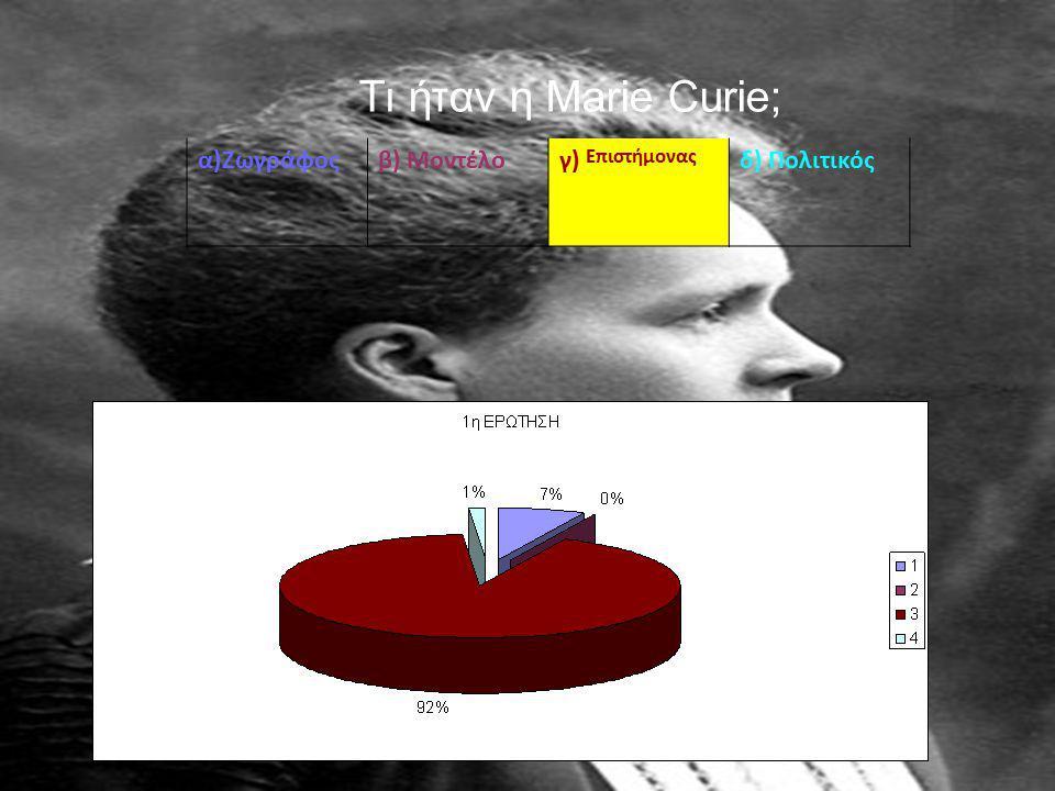 Τι ήταν η Marie Curie; α)Ζωγράφοςβ) Μοντέλογ) Επιστήμονας δ) Πολιτικός