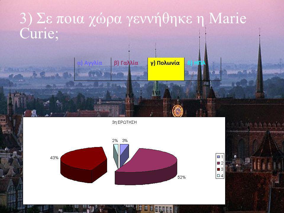 3) Σε ποια χώρα γεννήθηκε η Marie Curie; α) Αγγλίαβ) Γαλλίαγ) Πολωνίαδ) ΗΠΑ