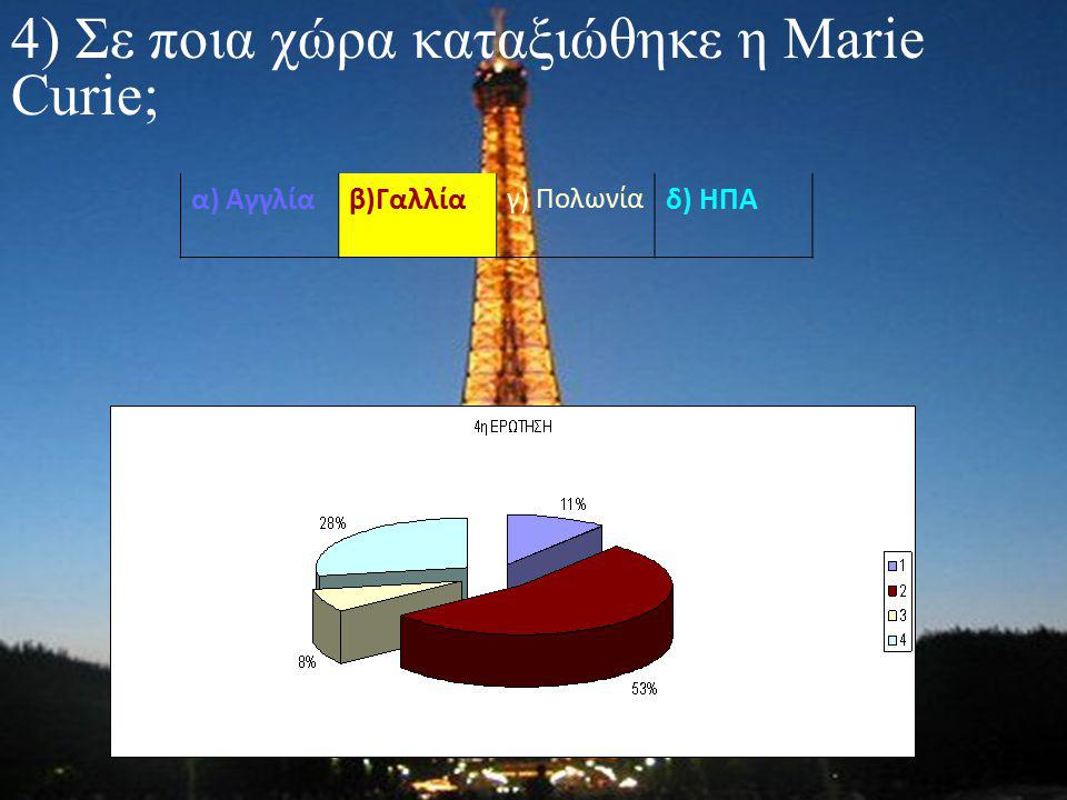4) Σε ποια χώρα καταξιώθηκε η Marie Curie; α) Αγγλίαβ)Γαλλία γ) Πολωνία δ) ΗΠΑ