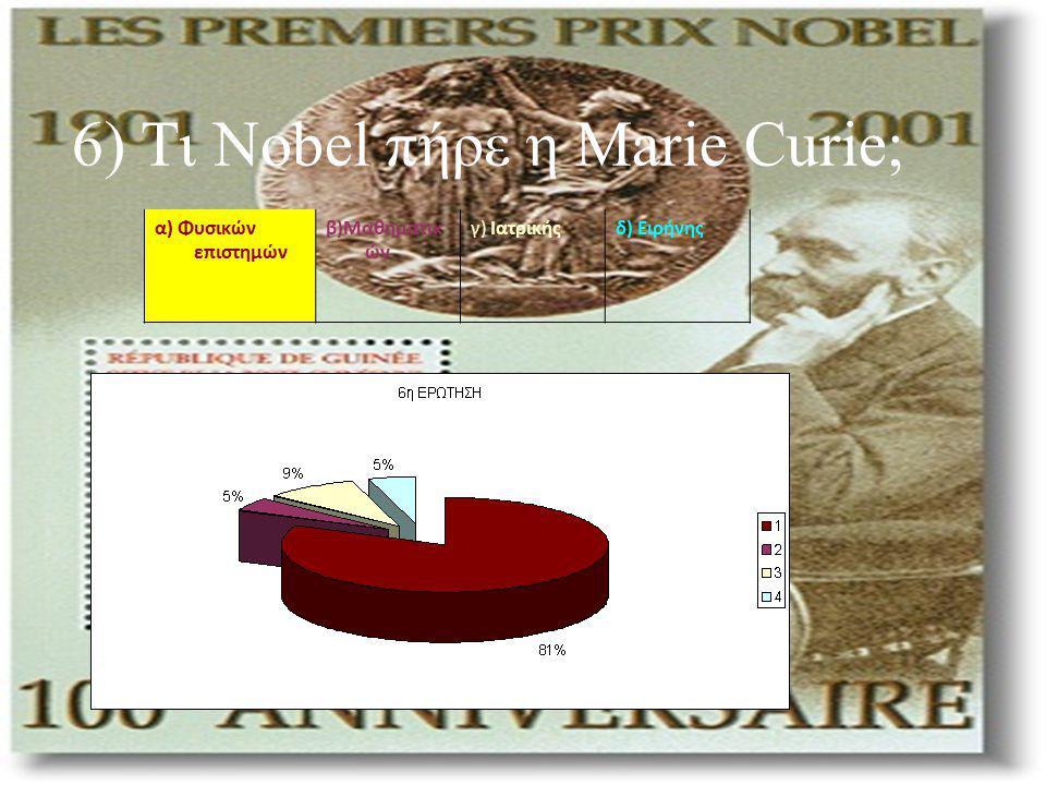 6) Τι Nobel πήρε η Marie Curie; α) Φυσικών επιστημών β)Μαθηματικ ών γ) Ιατρικήςδ) Ειρήνης