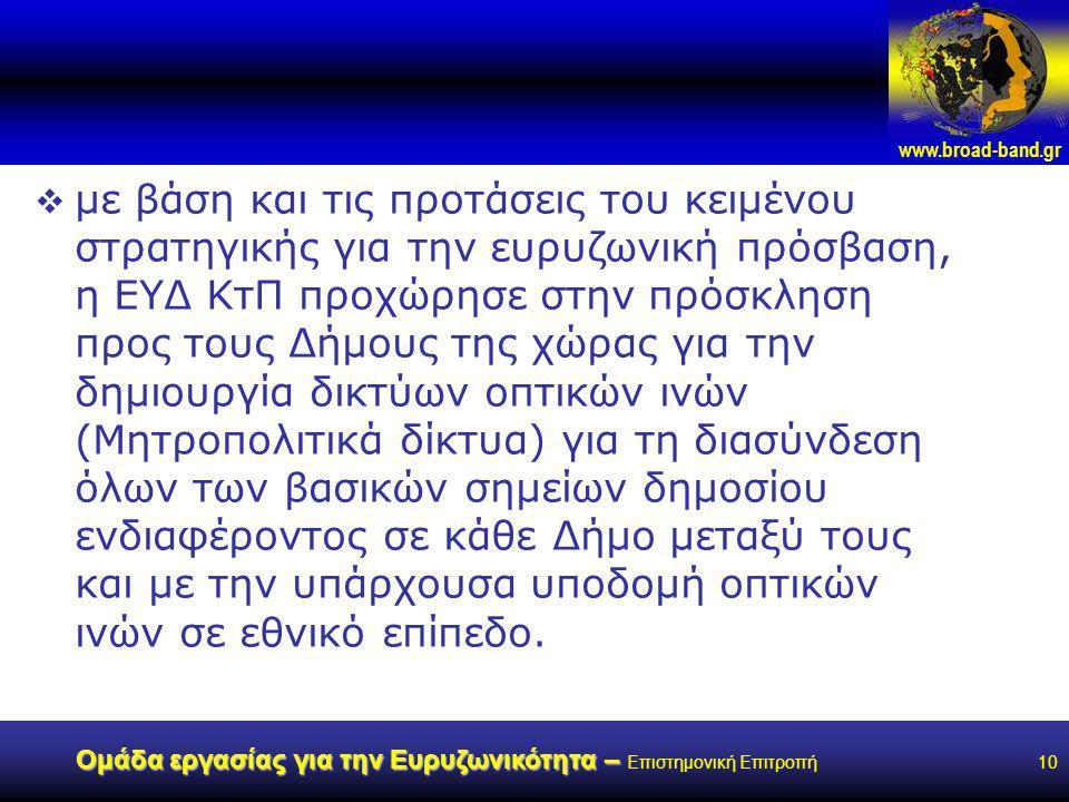 www.broad-band.gr Ομάδα εργασίας για την Ευρυζωνικότητα – Ομάδα εργασίας για την Ευρυζωνικότητα – Επιστημονική Επιτροπή10  με βάση και τις προτάσεις του κειμένου στρατηγικής για την ευρυζωνική πρόσβαση, η ΕΥΔ ΚτΠ προχώρησε στην πρόσκληση προς τους Δήμους της χώρας για την δημιουργία δικτύων οπτικών ινών (Μητροπολιτικά δίκτυα) για τη διασύνδεση όλων των βασικών σημείων δημοσίου ενδιαφέροντος σε κάθε Δήμο μεταξύ τους και με την υπάρχουσα υποδομή οπτικών ινών σε εθνικό επίπεδο.