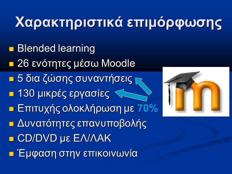 Χαρακτηριστικά επιμόρφωσης Blended learning Blended learning 26 ενότητες μέσω Moodle 26 ενότητες μέσω Moodle 5 δια ζώσης συναντήσεις 5 δια ζώσης συναντήσεις 130 μικρές εργασίες 130 μικρές εργασίες Επιτυχής ολοκλήρωση με Επιτυχής ολοκλήρωση με 70% Δυνατότητες επανυποβολής Δυνατότητες επανυποβολής CD/DVD με ΕΛ/ΛΑΚ CD/DVD με ΕΛ/ΛΑΚ Έμφαση στην επικοινωνία Έμφαση στην επικοινωνία
