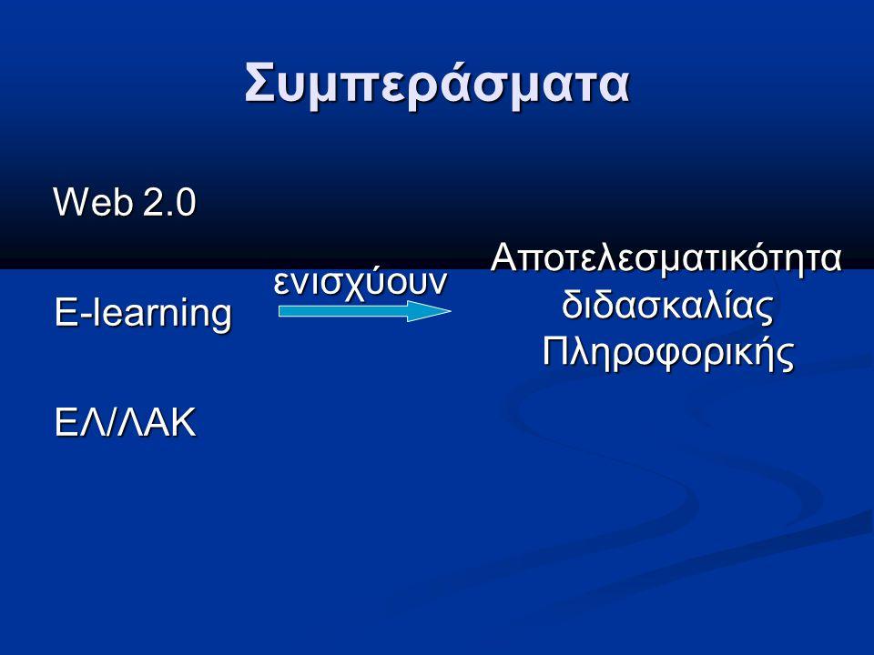 Συμπεράσματα Web 2.0 E-learning ΕΛ/ΛΑΚ Αποτελεσματικότητα διδασκαλίας Πληροφορικής ενισχύουν