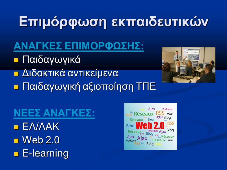 Επιμόρφωση εκπαιδευτικών ΑΝΑΓΚΕΣ ΕΠΙΜΟΡΦΩΣΗΣ: Παιδαγωγικά Παιδαγωγικά Διδακτικά αντικείμενα Διδακτικά αντικείμενα Παιδαγωγική αξιοποίηση ΤΠΕ Παιδαγωγική αξιοποίηση ΤΠΕ ΝΕΕΣ ΑΝΑΓΚΕΣ: ΕΛ/ΛΑΚ ΕΛ/ΛΑΚ Web 2.0 Web 2.0 E-learning E-learning