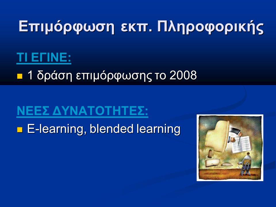 Επιμόρφωση εκπ. Πληροφορικής ΤΙ ΕΓΙΝΕ: 1 δράση επιμόρφωσης το 2008 1 δράση επιμόρφωσης το 2008 ΝΕΕΣ ΔΥΝΑΤΟΤΗΤΕΣ: E-learning, blended learning E-learni