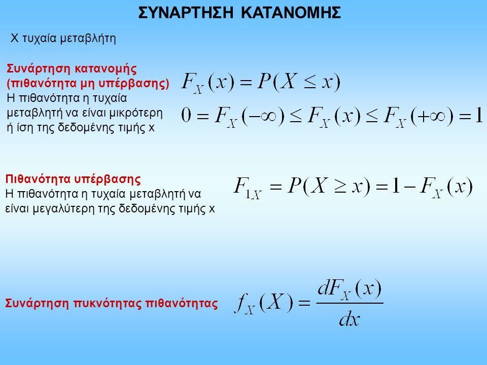 ΣΥΝΑΡΤΗΣΗ ΚΑΤΑΝΟΜΗΣ Χ τυχαία μεταβλήτη Συνάρτηση κατανομής (πιθανότητα μη υπέρβασης) H πιθανότητα η τυχαία μεταβλητή να είναι μικρότερη ή ίση της δεδο