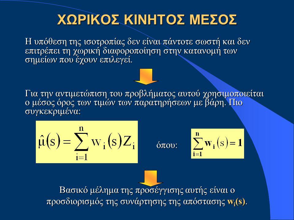 ΧΩΡΙΚΟΣ ΚΙΝΗΤΟΣ ΜΕΣΟΣ Η υπόθεση της ισοτροπίας δεν είναι πάντοτε σωστή και δεν επιτρέπει τη χωρική διαφοροποίηση στην κατανομή των σημείων που έχουν επιλεγεί.