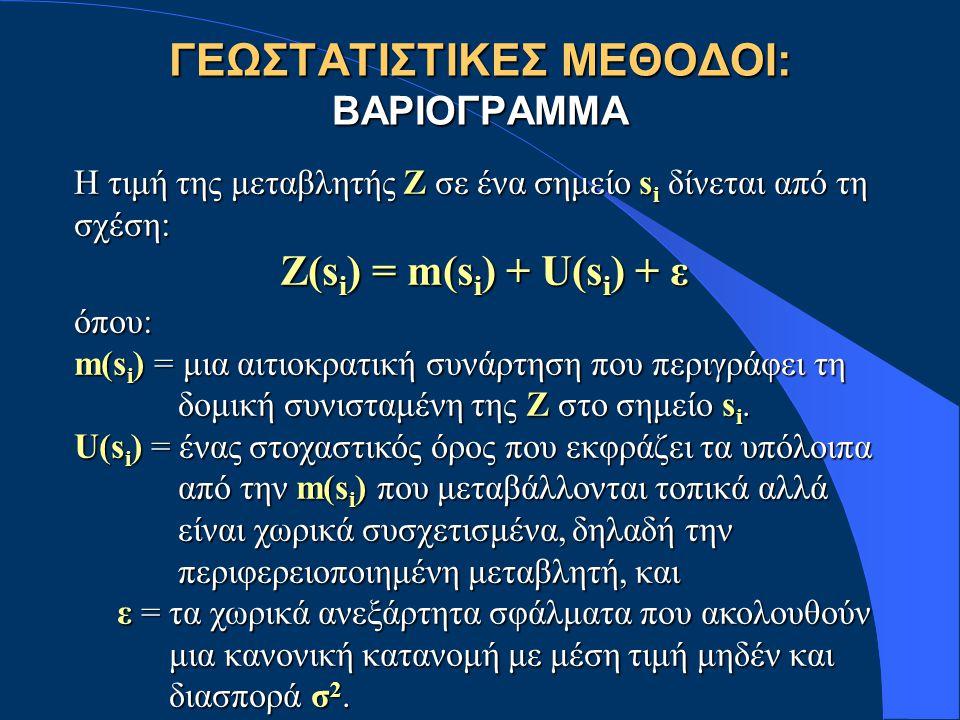 ΓΕΩΣΤΑΤΙΣΤΙΚΕΣ ΜΕΘΟΔΟΙ: ΒΑΡΙΟΓΡΑΜΜΑ Η τιμή της μεταβλητής Ζ σε ένα σημείο s i δίνεται από τη σχέση: Z(s i ) = m(s i ) + U(s i ) + ε όπου: m(s i ) = μια αιτιοκρατική συνάρτηση που περιγράφει τη δομική συνισταμένη της Ζ στο σημείο s i.