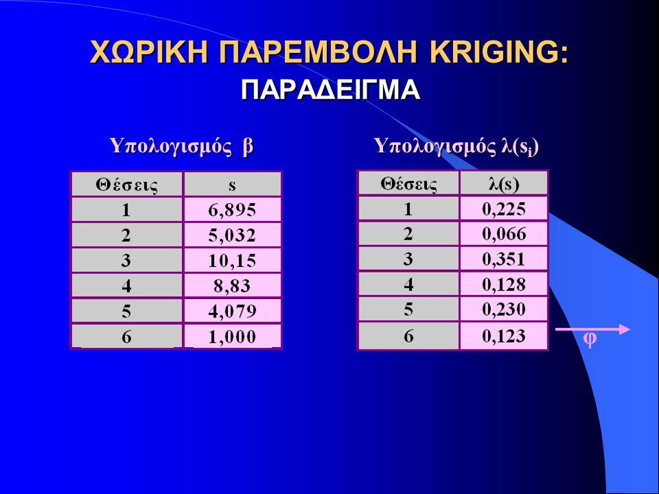 ΧΩΡΙΚΗ ΠΑΡΕΜΒΟΛΗ KRIGING: ΠΑΡΑΔΕΙΓΜΑ Υπολογισμός β Υπολογισμός λ(s i )