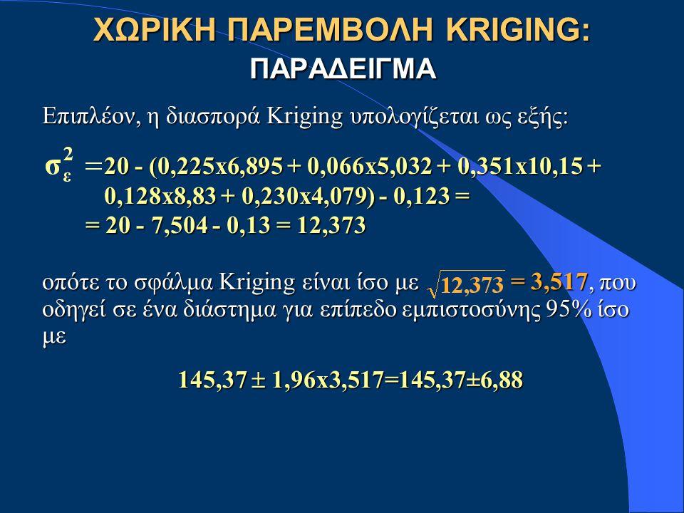 Επιπλέον, η διασπορά Kriging υπολογίζεται ως εξής: 20 - (0,225x6,895 + 0,066x5,032 + 0,351x10,15 + 20 - (0,225x6,895 + 0,066x5,032 + 0,351x10,15 + 0,128x8,83 + 0,230x4,079) - 0,123 = 0,128x8,83 + 0,230x4,079) - 0,123 = = 20 - 7,504 - 0,13 = 12,373 = 20 - 7,504 - 0,13 = 12,373 οπότε το σφάλμα Kriging είναι ίσο με = 3,517, που οδηγεί σε ένα διάστημα για επίπεδο εμπιστοσύνης 95% ίσο με 145,37  1,96x3,517=145,37±6,88 ΧΩΡΙΚΗ ΠΑΡΕΜΒΟΛΗ KRIGING: ΠΑΡΑΔΕΙΓΜΑ