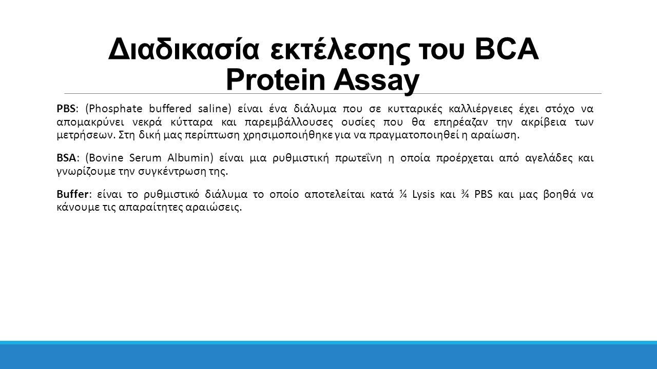 Διαδικασία εκτέλεσης του BCA Protein Assay PBS: (Phosphate buffered saline) είναι ένα διάλυμα που σε κυτταρικές καλλιέργειες έχει στόχο να απομακρύνει