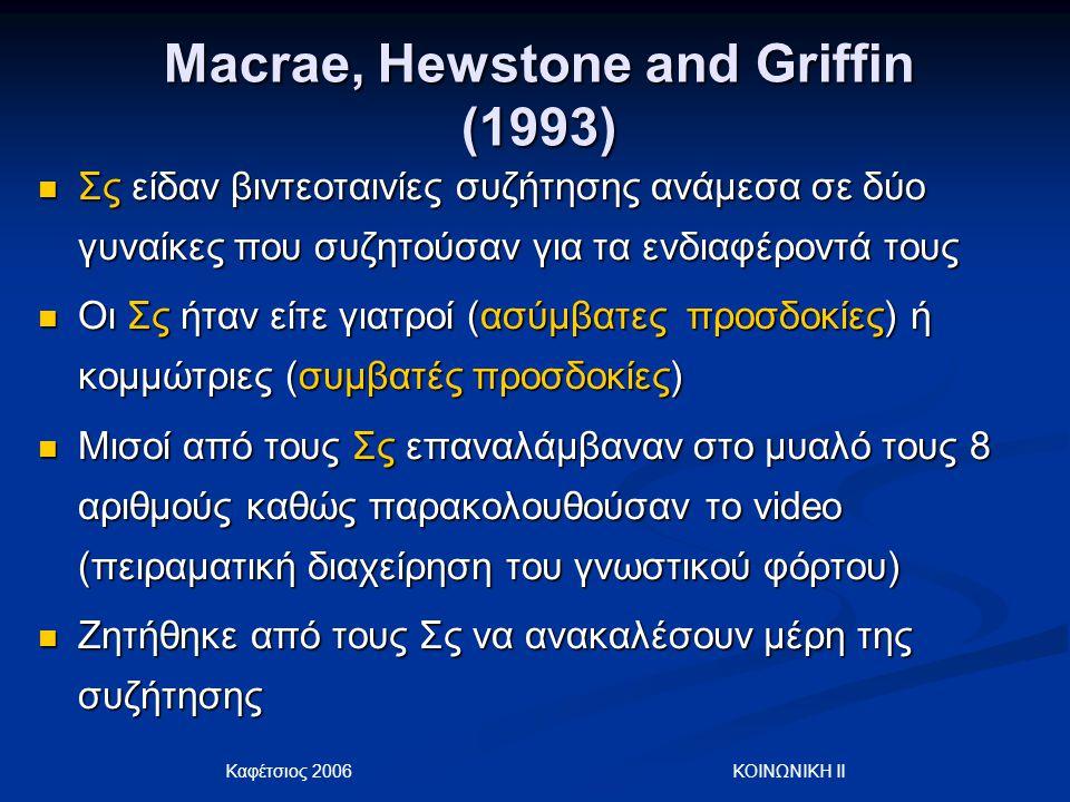 Καφέτσιος 2006 ΚΟΙΝΩΝΙΚΗ ΙΙ Macrae, Hewstone and Griffin (1993) Σς είδαν βιντεοταινίες συζήτησης ανάμεσα σε δύο γυναίκες που συζητούσαν για τα ενδιαφέ