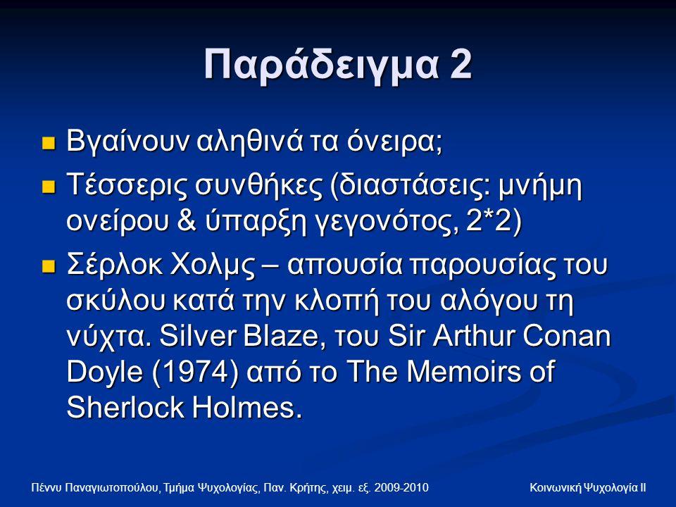 Πέννυ Παναγιωτοπούλου, Τμήμα Ψυχολογίας, Παν. Κρήτης, χειμ. εξ. 2009-2010 Κοινωνική Ψυχολογία ΙΙ Παράδειγμα 2 Βγαίνουν αληθινά τα όνειρα; Βγαίνουν αλη