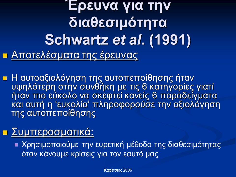 Καφέτσιος 2006 Έρευνα για την διαθεσιμότητα Schwartz et al. (1991) Αποτελέσματα της έρευνας Αποτελέσματα της έρευνας Η αυτοαξιολόγηση της αυτοπεποίθησ