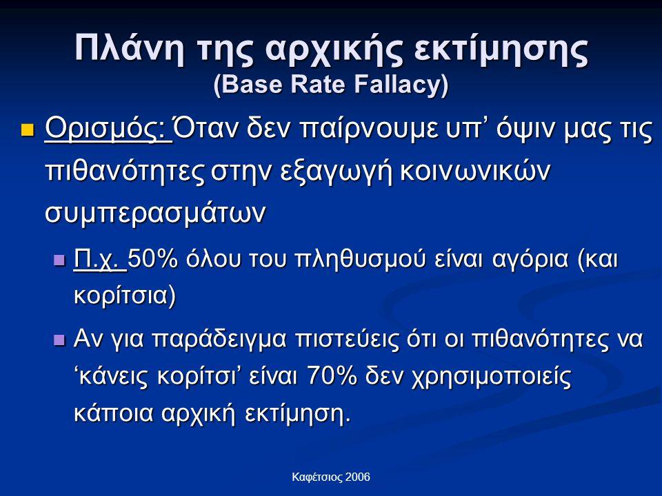 Καφέτσιος 2006 Πλάνη της αρχικής εκτίμησης (Base Rate Fallacy) Ορισμός: Όταν δεν παίρνουμε υπ' όψιν μας τις πιθανότητες στην εξαγωγή κοινωνικών συμπερ