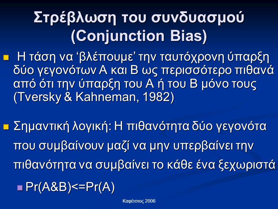 Καφέτσιος 2006 Στρέβλωση του συνδυασμού (Conjunction Bias) Η τάση να 'βλέπουμε' την ταυτόχρονη ύπαρξη δύο γεγονότων Α και Β ως περισσότερο πιθανά από