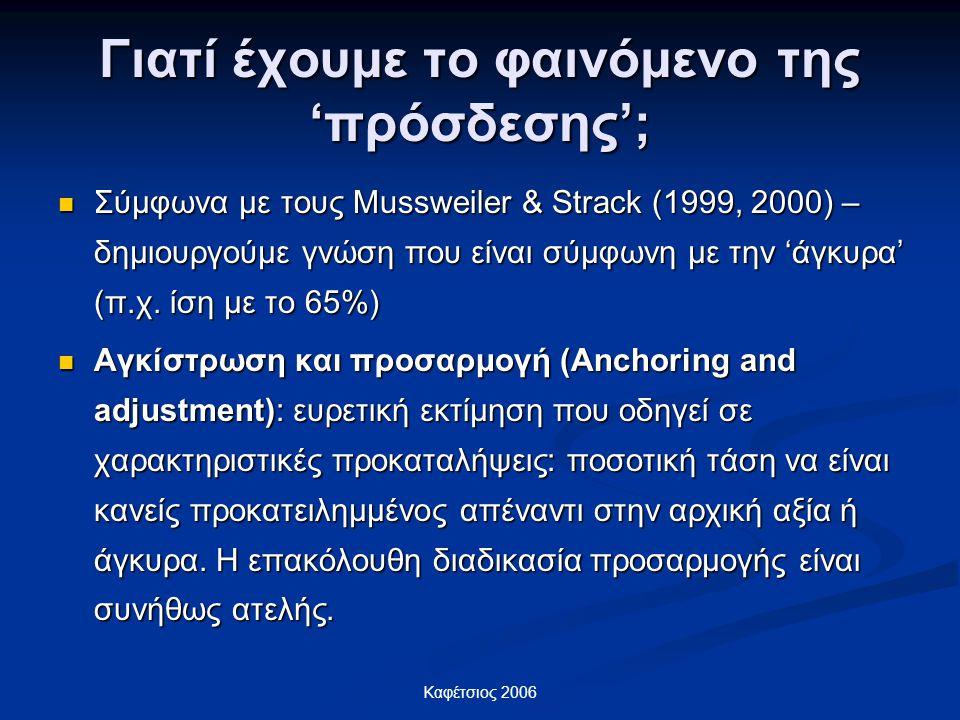 Καφέτσιος 2006 Γιατί έχουμε το φαινόμενο της 'πρόσδεσης'; Σύμφωνα με τους Mussweiler & Strack (1999, 2000) – δημιουργούμε γνώση που είναι σύμφωνη με τ