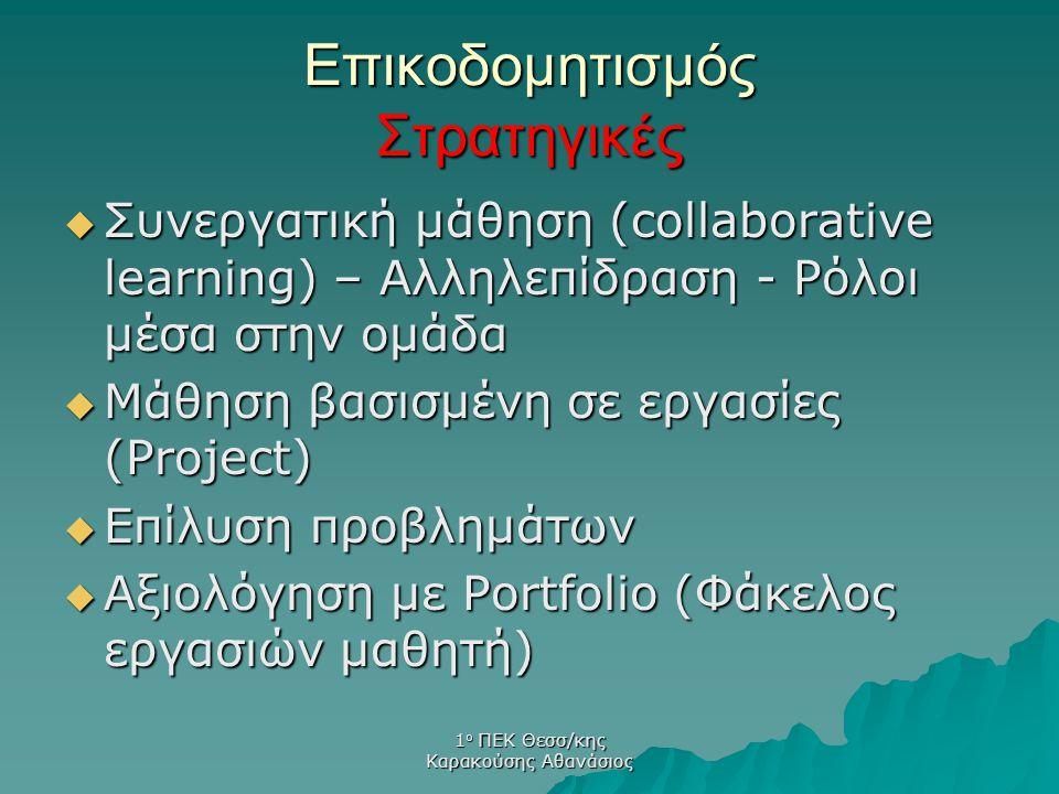 1 ο ΠΕΚ Θεσσ/κης Καρακούσης Αθανάσιος Επικοδομητισμός Στρατηγικές  Συνεργατική μάθηση (collaborative learning) – Αλληλεπίδραση - Ρόλοι μέσα στην ομάδ