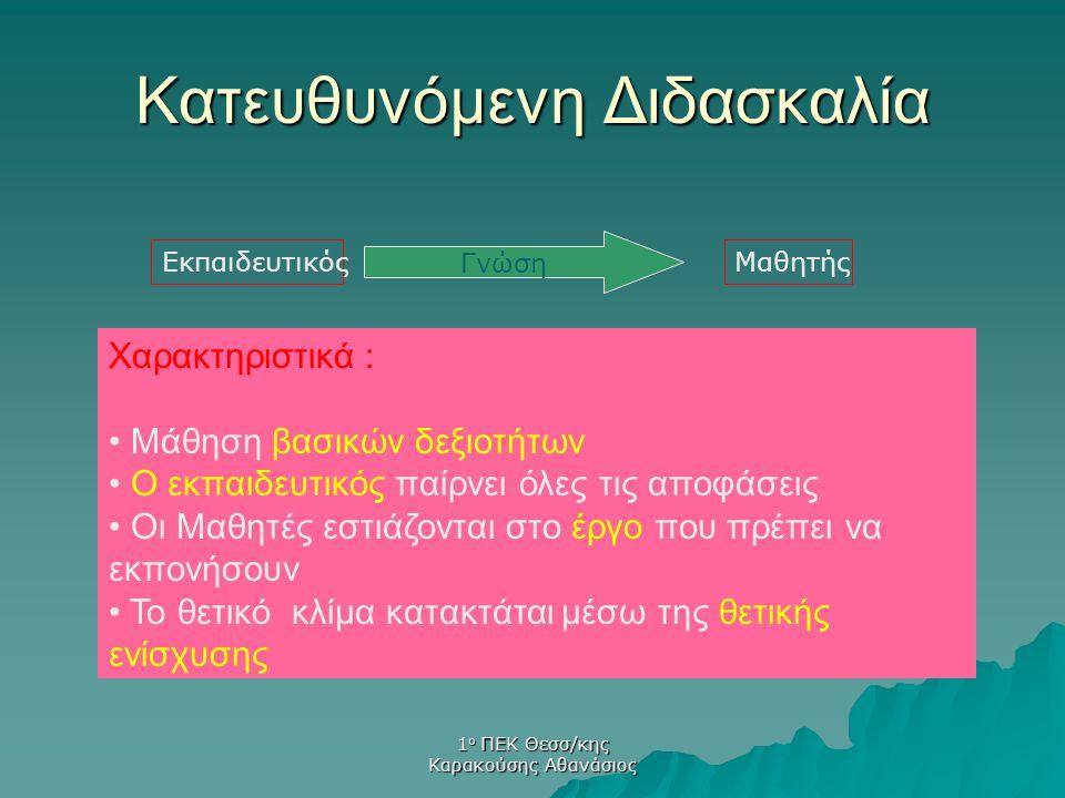 1 ο ΠΕΚ Θεσσ/κης Καρακούσης Αθανάσιος Κατευθυνόμενη Διδασκαλία Που χρησιμοποιείτε .