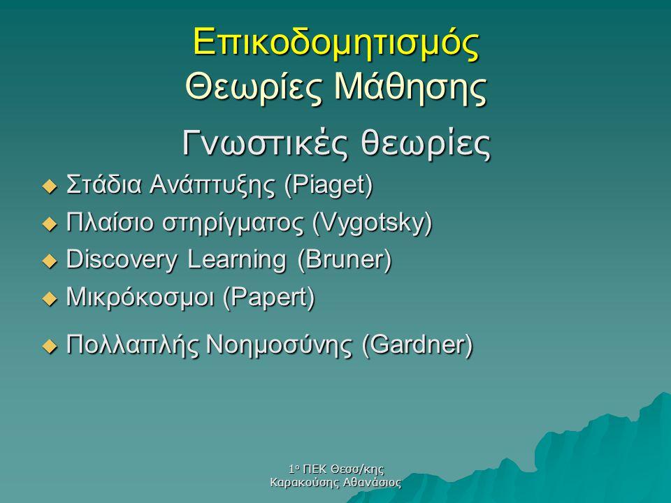 1 ο ΠΕΚ Θεσσ/κης Καρακούσης Αθανάσιος Γνωστικές θεωρίες  Στάδια Ανάπτυξης (Piaget)  Πλαίσιο στηρίγματος (Vygotsky)  Discovery Learning (Bruner)  Μ