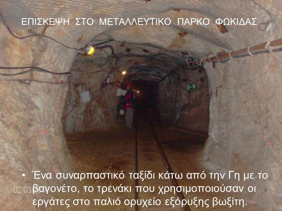 ΕΠΙΣΚΕΨΗ ΣΤΟ ΜΕΤΑΛΛΕΥΤΙΚΟ ΠΑΡΚΟ ΦΩΚΙΔΑΣ Ένα συναρπαστικό ταξίδι κάτω από την Γη με το βαγονέτο, το τρενάκι που χρησιμοποιούσαν οι εργάτες στο παλιό ορυχείο εξόρυξης βωξίτη.