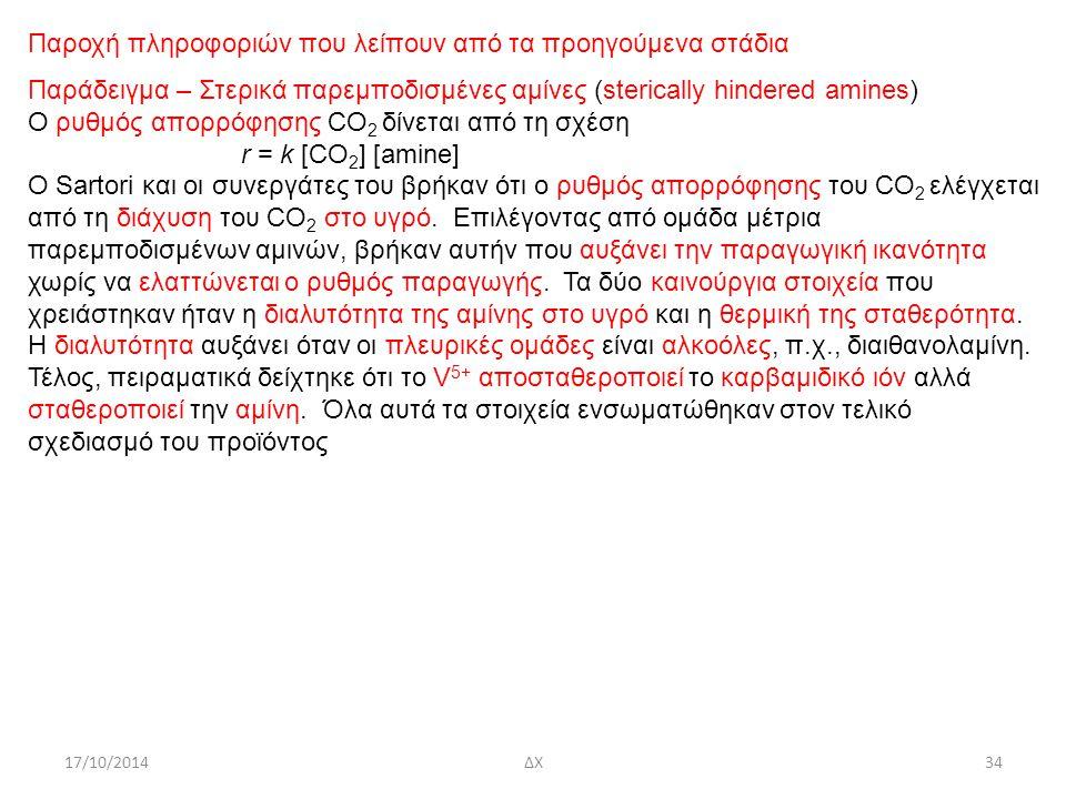 17/10/2014ΔΧ34 Παροχή πληροφοριών που λείπουν από τα προηγούμενα στάδια Παράδειγμα – Στερικά παρεμποδισμένες αμίνες (sterically hindered amines) Ο ρυθμός απορρόφησης CO 2 δίνεται από τη σχέση r = k [CO 2 ] [amine] Ο Sartori και οι συνεργάτες του βρήκαν ότι o ρυθμός απορρόφησης του CO 2 ελέγχεται από τη διάχυση του CO 2 στο υγρό.