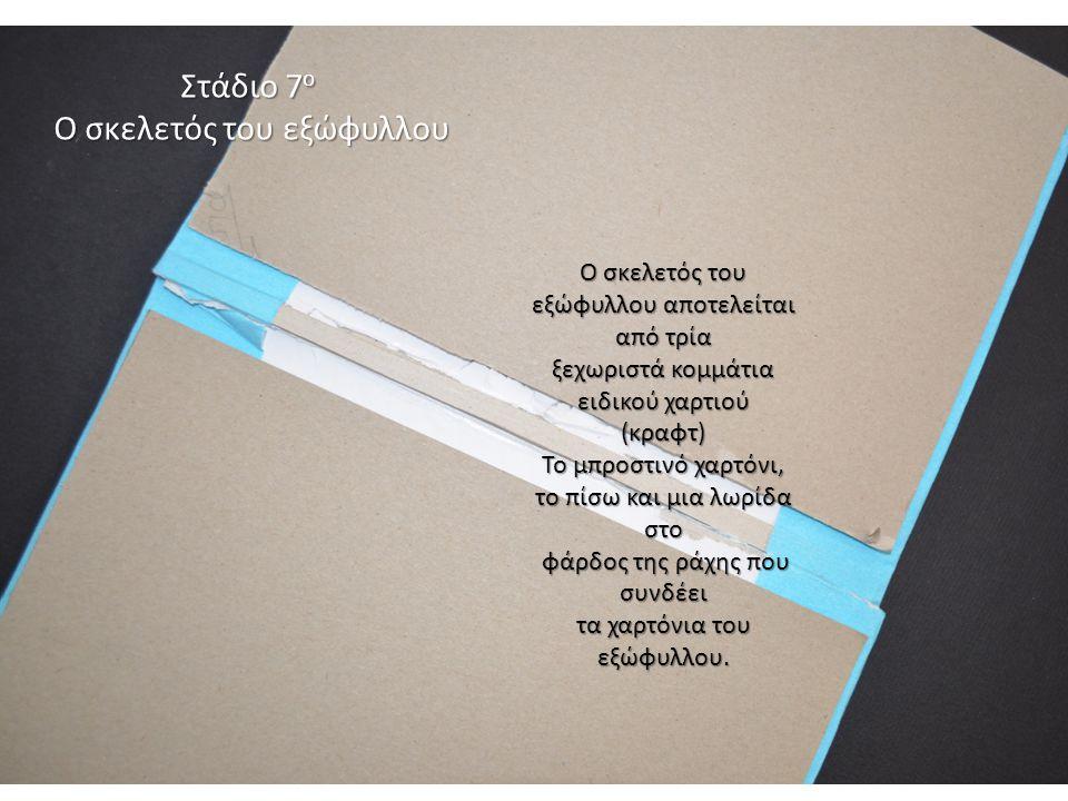 Στάδιο 7 ο Ο σκελετός του εξώφυλλου Ο σκελετός του εξώφυλλου αποτελείται από τρία ξεχωριστά κομμάτια ειδικού χαρτιού (κραφτ) Το μπροστινό χαρτόνι, το