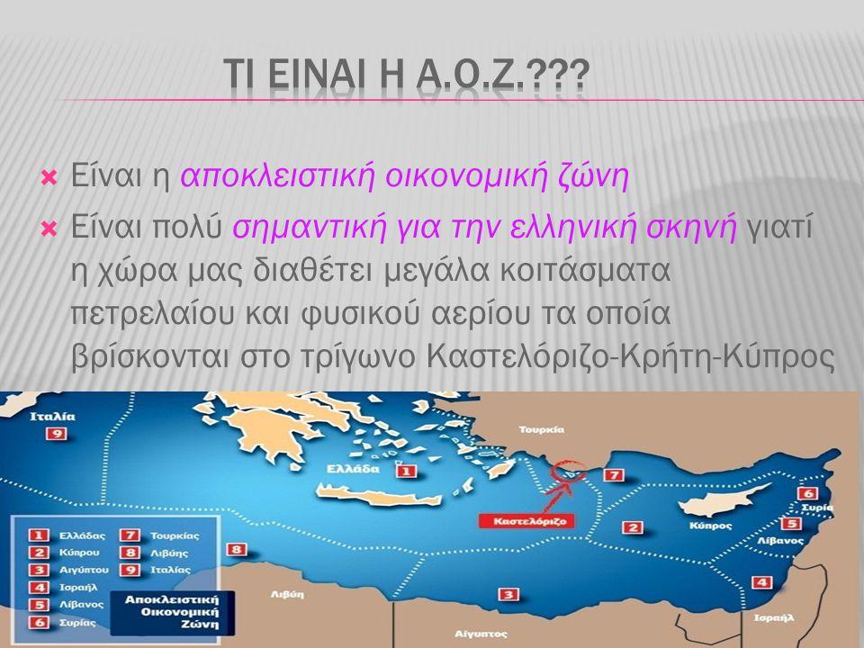  Είναι η αποκλειστική οικονομική ζώνη  Είναι πολύ σημαντική για την ελληνική σκηνή γιατί η χώρα μας διαθέτει μεγάλα κοιτάσματα πετρελαίου και φυσικο