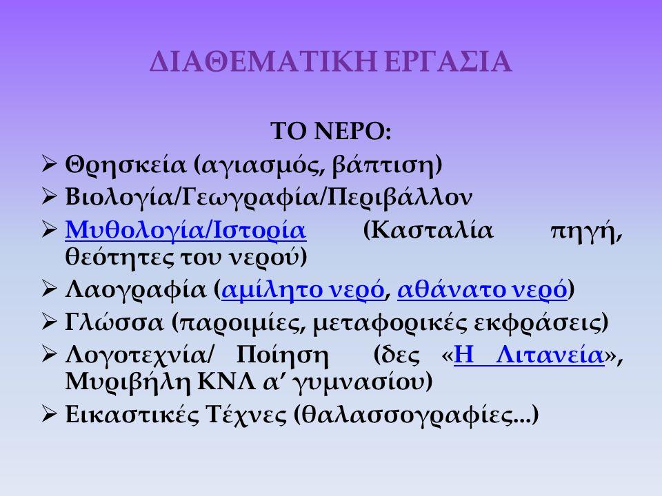 ΔΙΑΘΕΜΑΤΙΚΗ ΕΡΓΑΣΙΑ ΤΟ ΝΕΡΟ:  Θρησκεία (αγιασμός, βάπτιση)  Βιολογία/Γεωγραφία/Περιβάλλον  Μυθολογία/Ιστορία (Κασταλία πηγή, θεότητες του νερού) Μυ